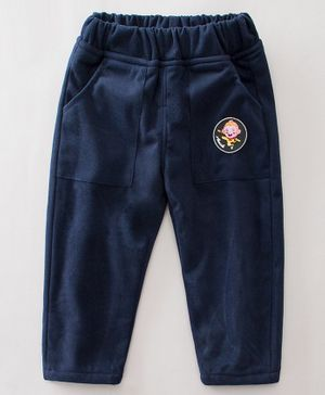 Pre Order - Awabox Cartoon Patch Detailed Full Length Lounge Pants -  Navy Blue