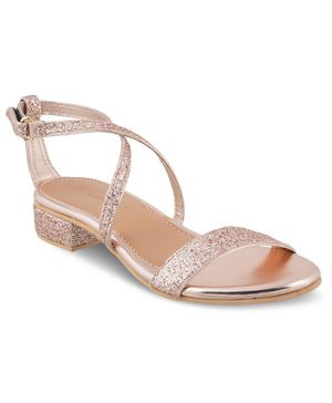 Kittens Shoes Shimmery Buckle Straps Sandals - Rose Gold