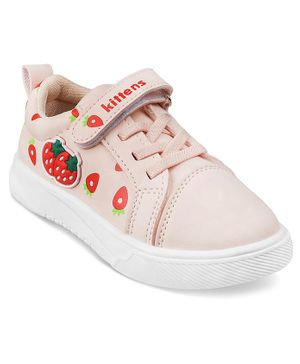 Kittens Shoes Strawberry Patch Velcro Straps Shoes - Pink