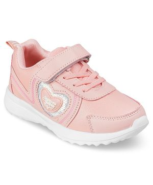 Kittens Shoes Heart Patch Velcro Straps Shoes - Pink