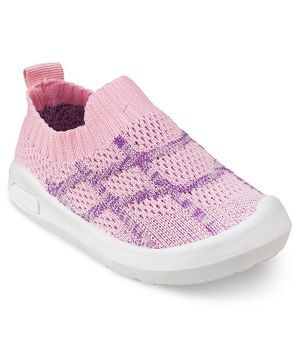Kittens Shoes Checkered Style Back Elastic Shoes - Pink