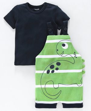 Babyoye Striped Dungaree with Half Sleeves Tee Animal Print - Green