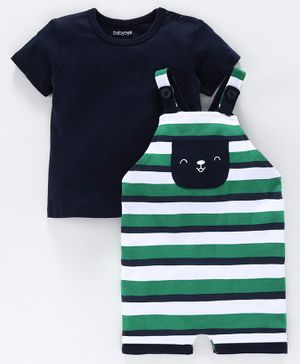 Babyoye Striped Dungaree with Half Sleeves Tee - Green