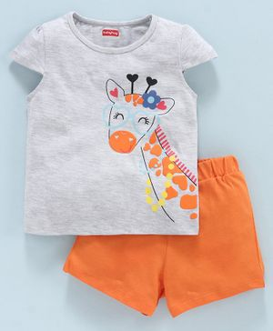 Babyhug Cap Sleeves Tee and Shorts Graphic Print - Orange Grey