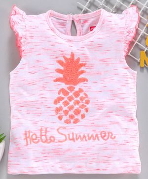 Babyhug Flutter Sleeves Top Sequin Pineapple Design - Light Pink