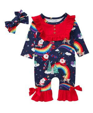 Pre Order - Awabox Full Sleeves All Over Santa Claus Printed Frill Detailing Romper & Headband Set - Dark Blue