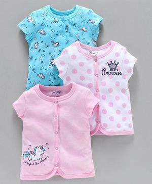 Babyoye Cotton Half Sleeves Jhabla Vests Unicorn & Polka Dot Print Pack of 3 - Pink Blue