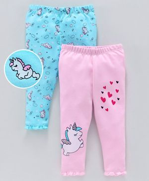 Babyoye Cotton Lounge Pants Unicorn Print Pack of 2 - Blue Pink