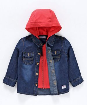Babyoye Full Sleeves Layered Cotton Shirt with Detachable Hood - Mid Washed Blue