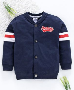 Simply Full Sleeves Sweat Jacket Awesome Embroidery - Navy Blue