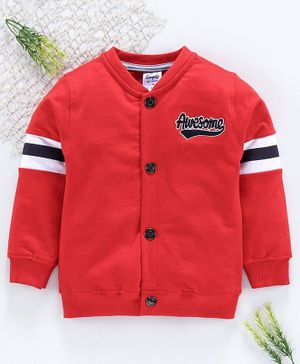 Simply Full Sleeves Sweat Jacket Awesome Embroidery - Red