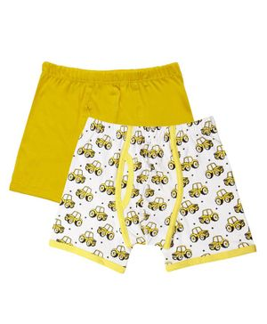 Claesens Holland Pack Of 2 Tractor Print Boxers - White & Yellow