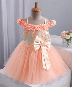 Bluebell Sleeveless Frock Floral Embellished & Bow Motif - Peach