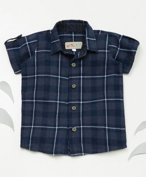 Knotty Kids Half Sleeves Checked Shirt - Blue