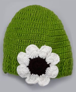 Knitting By Love Flower Pattern Crochet Cap - Green