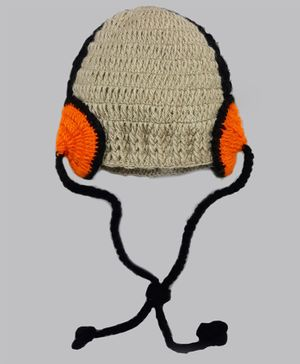 Knitting By Love Head Phone Applique Crochet Cap - Grey