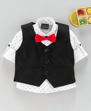 Rikidoos All Over Bow Printed Roll Up Sleeves Shirt With Waistcoat & Bow Tie - Black & White