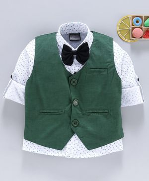 Rikidoos Roll Up Full Sleeves Dot Printed Shirt With Waistcoat & Bow Tie - Green & White