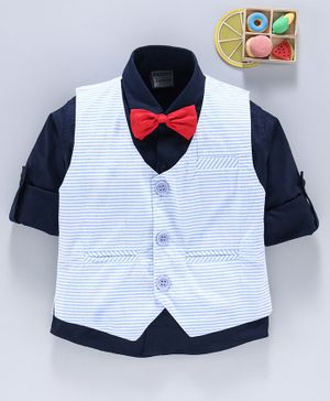Rikidoos Full Sleeves Shirt With Striped Waistcoat & Bow Tie - Blue