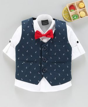 Rikidoos Full Sleeves Shirt With Anchor Printed Waistcoat & Bow Tie - Navy Blue & White