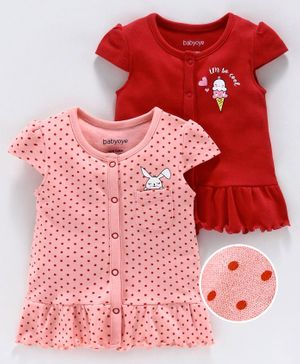 Babyoye Cap Sleeves Cotton Vests Multi Print Pack of 2 - Pink Red