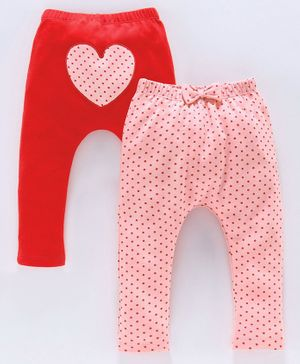 Babyoye Cotton Diaper Leggings Dot Print Pack of 2 - Red