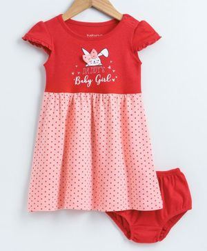 Babyoye Cap Sleeves Frock with Bloomer Polka Dot Print - Red