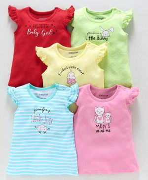 Babyoye Cotton Tops Multi Print Pack of 5 - Multicolor
