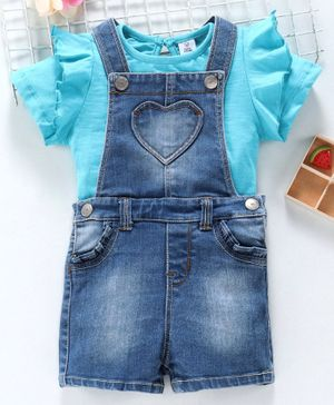 ToffyHouse Half Sleeves Dungarees - Blue