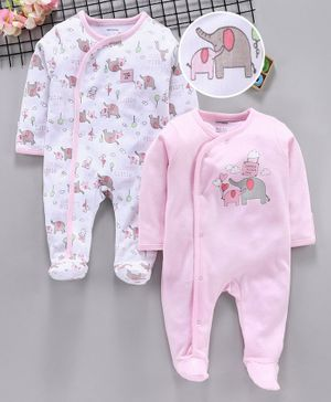 ToffyHouse Full Sleeves Footed Romper Elephant Print Pack of 2 - Pink