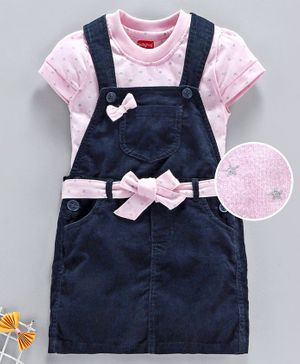 Babyhug Half Sleeves Dungaree Style Frock Bow Applique - Navy Blue Pink