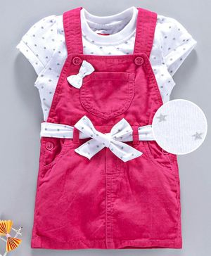 Babyhug Half Sleeves Dungaree Style Frock Bow Applique - Pink