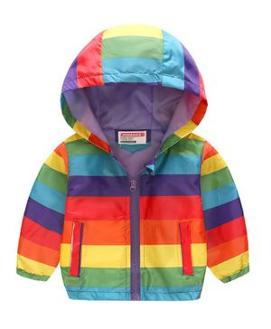 Pre Order - Awabox Striped Full Sleeves Hooded Jacket - Multicolor