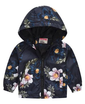 Pre Order - Awabox Flower Print Full Sleeves Hooded Jacket - Blue
