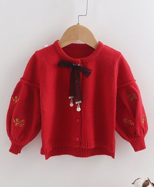Awabox Full Sleeves Floral Detailed Bow Knot Sweater - Red