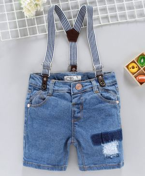 ToffyHouse Denim Shorts With Suspenders - Blue
