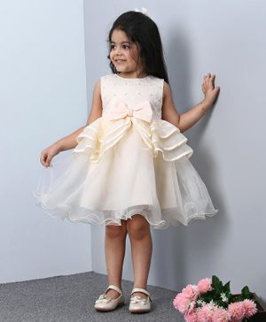 Mark & Mia Sleeveless Party Frock Bow Design - Cream