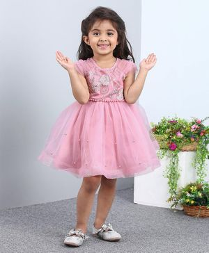 Mark & Mia Short Sleeves Frock Sequin Embellished - Pink