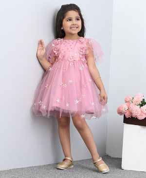 Mark & Mia Sleeveless Party Frock With Floral Embellishments - Pink