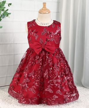 Mark & Mia Sleeveless Floral & Sequin Embroidered Party Frock - Maroon