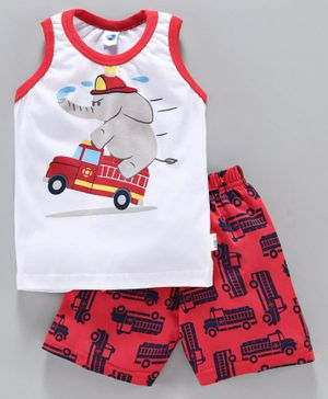 Teddy Sleeveless Vest and Shorts Set Elephant Print - Red White
