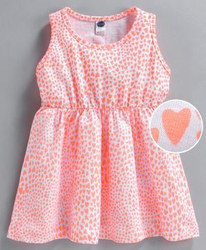 Teddy Sleeveless Frock Heart Print - Peach