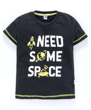 Teddy 100% Cotton Half Sleeves Tee Space Print - Black