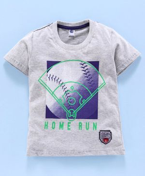 Teddy 100% Cotton Half Sleeves Tee Home Run Print - Grey