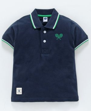 Teddy 100% Cotton Half Sleeves Tee Rackets Embroidery - Navy Blue