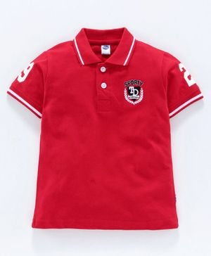 Teddy 100% Cotton Half Sleeves Tee Sporty Patch - Red
