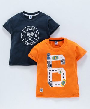 Teddy 100% Cotton Half Sleeves Printed Tee Pack of 2 - Orange Navy Blue