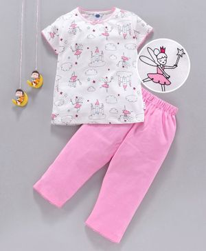 Teddy Half Sleeves Top With Bottom Fairy Print - Pink White
