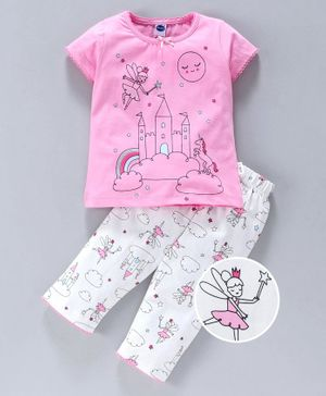 Teddy Half Sleeves Top With Bottom Castle Print - Pink White