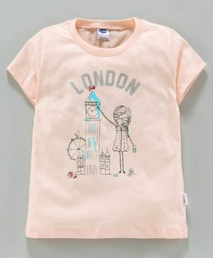 Teddy 100% Cotton Half Sleeves Tee London Print - Peach